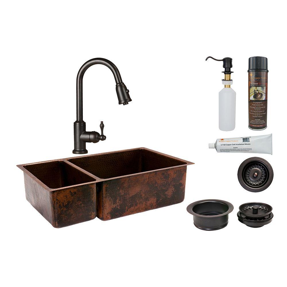 Premier Copper Products Évier de cuisine 25/75 à cuve double en cuivre tout-en-un de 33 po en bronze huilé