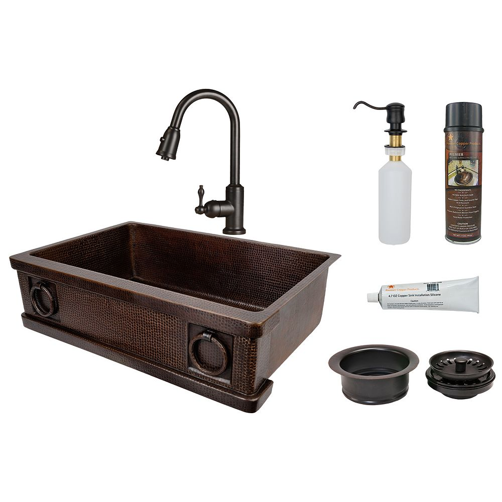 Premier Copper Products All-in-One Farmhouse/Apron-Front Copper 33 inch 0-Hole Kitchen Apron Sink with Rings in ORB