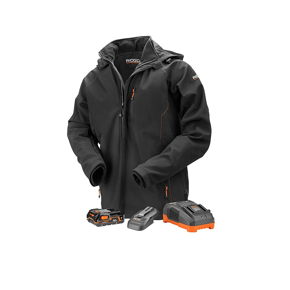 RIDGID Men's Large Black 18V Lithium-Ion Cordless Heated Jacket with (1) 1.5 Ah Battery and Charger