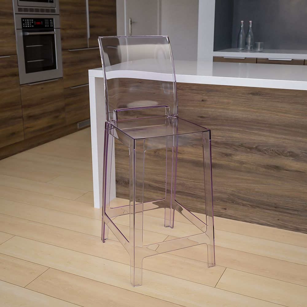 Flash Furniture Square Back Ghost Stool