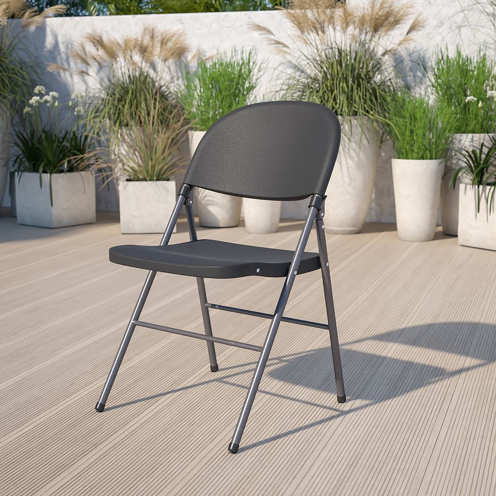 Flash Furniture Black Plastic Folding Chair