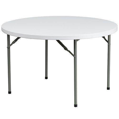 Table pliante en plastique blanc granite ronde de 48 po