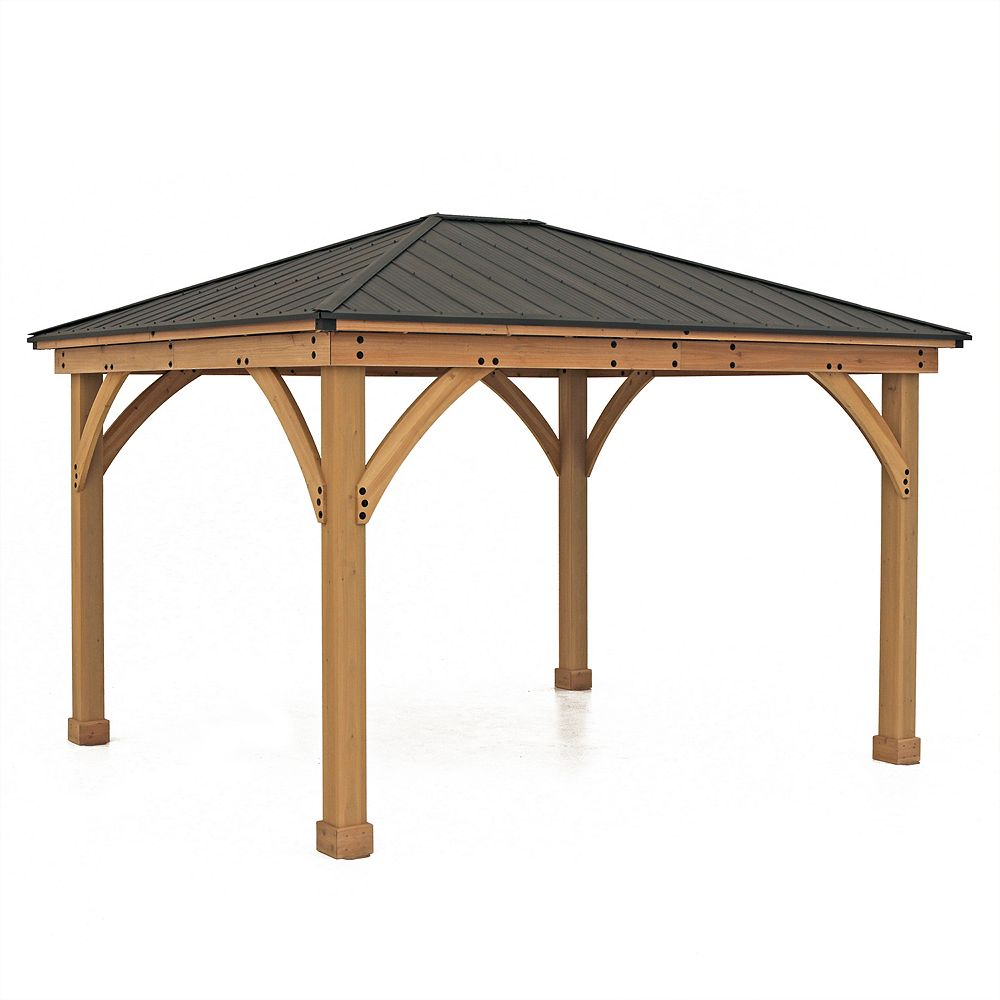 Yardistry Meridian 11 ft. x 13 ft. Gazebo with Graphite Roof