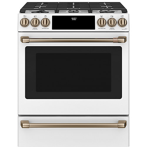 30-inch Slide-In Dual-Fuel Convection Range with Warming Drawer in Matte White