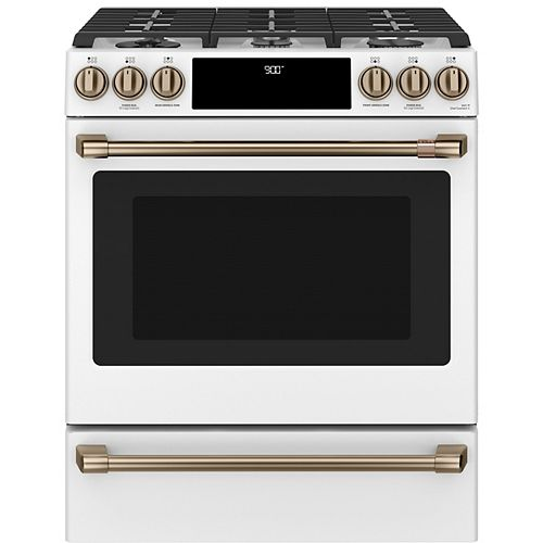 Café 30-inch Slide-In Dual-Fuel Convection Range with Warming Drawer in Matte White