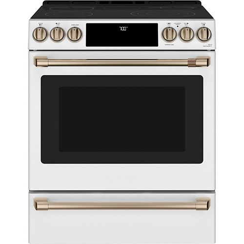 30-inch Slide-in Convection Range with Warming Drawer in Matte White