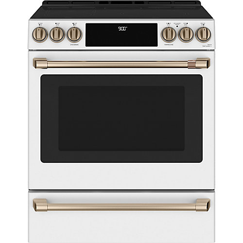 30-inch Slide-In Induction and Convection Range with Warming Drawer in Matte White