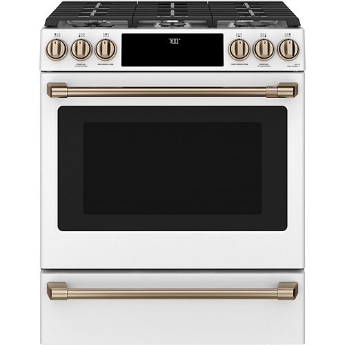 30-inch Slide-In Gas Range with Convection Oven in Matte White