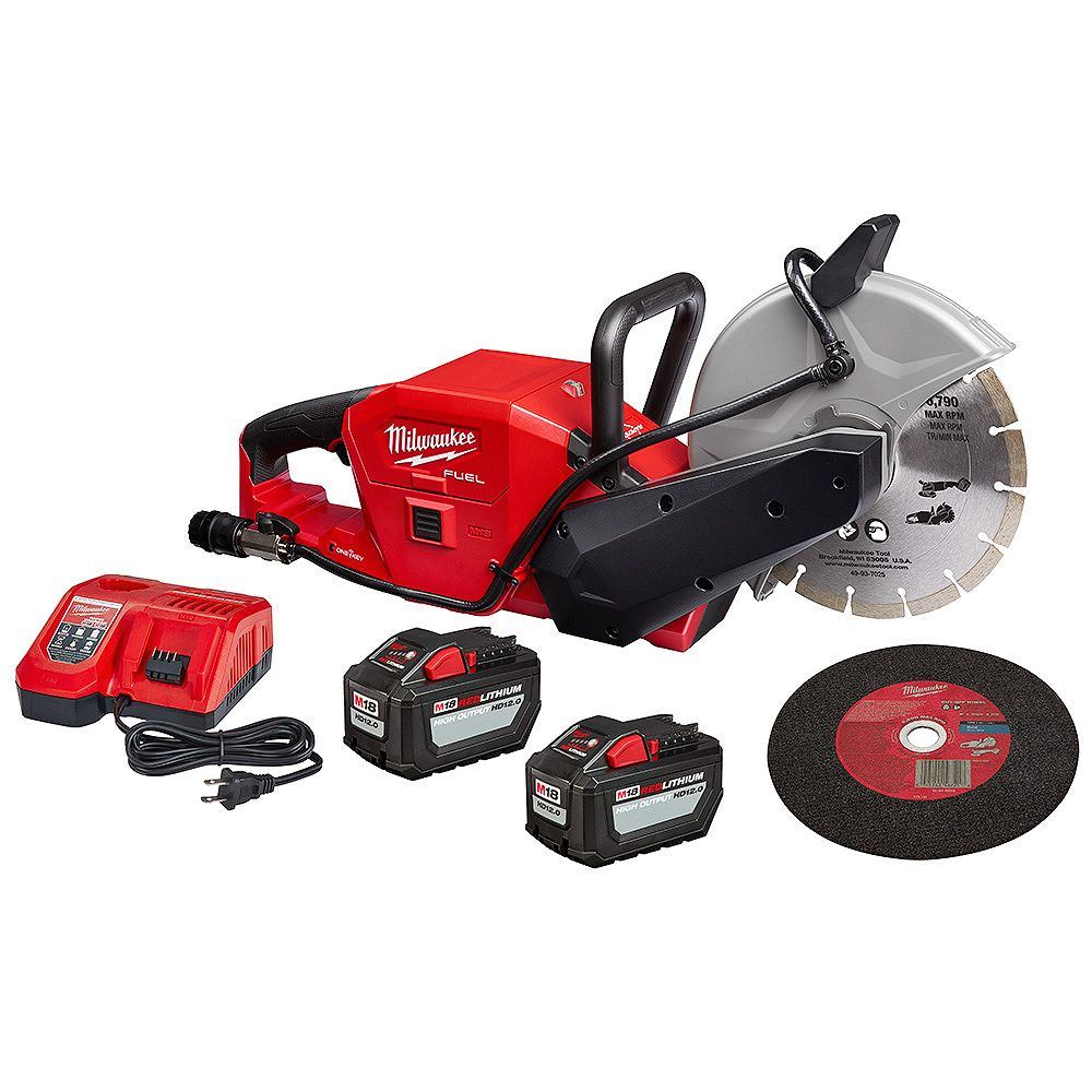 Milwaukee Tool M18 FUEL ONE-KEY 18V Li-Ion Brushless 9 -inch Cut Off Saw Kit W/(2) 12.0Ah Batteries & Chargeur rapide