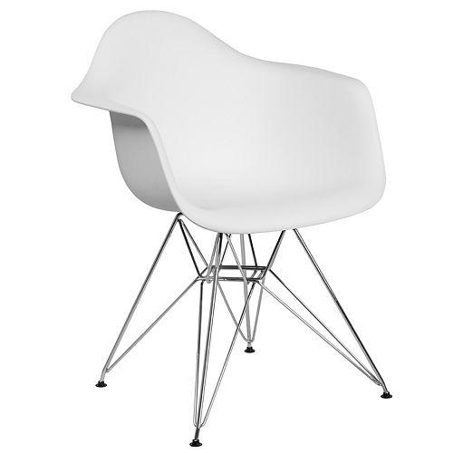 White Plastic/Chrome Chair