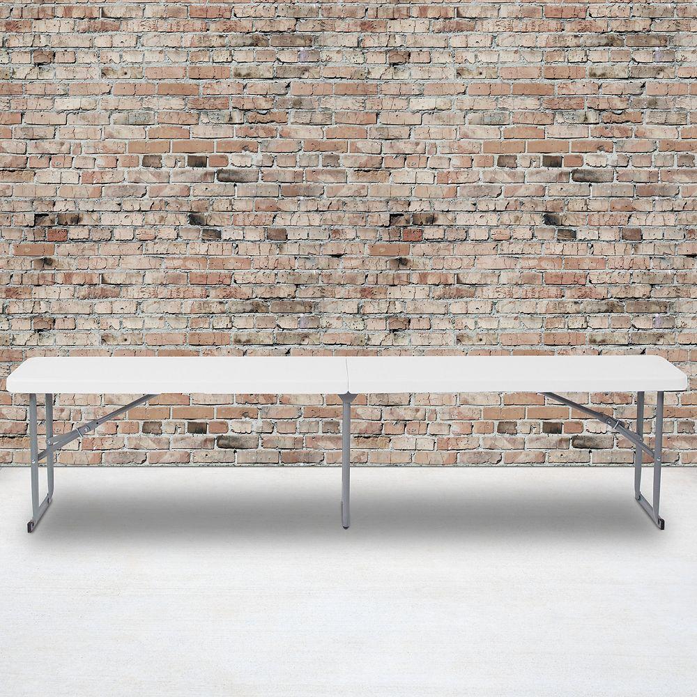 Flash Furniture Banc repliable en plastique blanc granite de 10,25 po larg. x 71 po long. avec poignée de transport