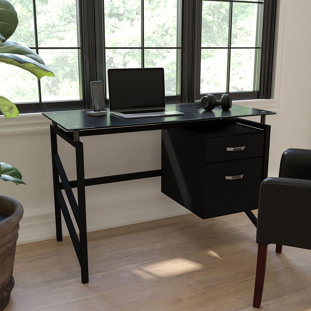 Flash Furniture Bureau en verre avec piédestal à deux tiroirs