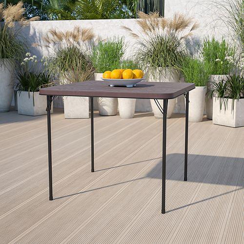 Table repliable en plastique et grain de bois brun carrée de 34 pouces avec poignée de transport