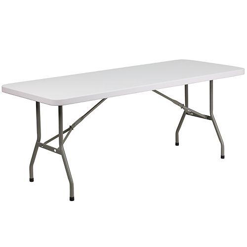 Table pliante en plastique blanc granite de 30 po larg. x 72 po long.