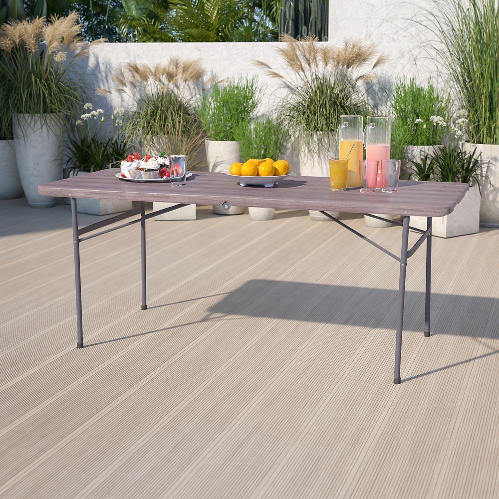 Flash Furniture 30x72 Brown Plastic Fold Table