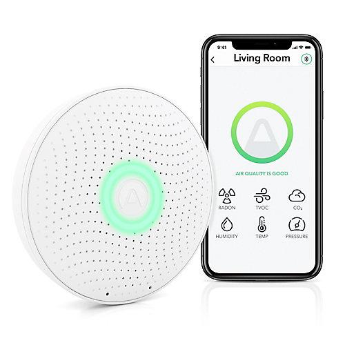 Wave Plus Moniteur de qualité de l'air intérieur avec détection du radon, application gratuite, à piles