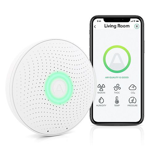 Battery Operated Wave Plus Indoor Air Quality Monitor with Radon Detection (Free App)