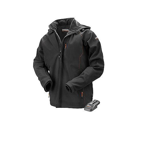 Veste chauffante noire 18V sans fil au lithium-ion pour homme (batterie non incluse)