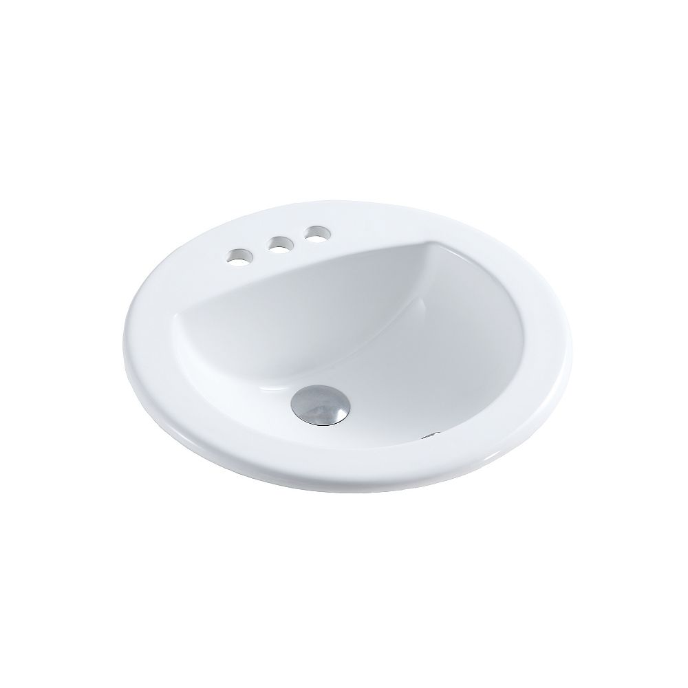 A&E Bath and Shower Mercy 19-1/8 inch Drop-In Ceramic Circular Sink Basin with Overflow in Glossy White