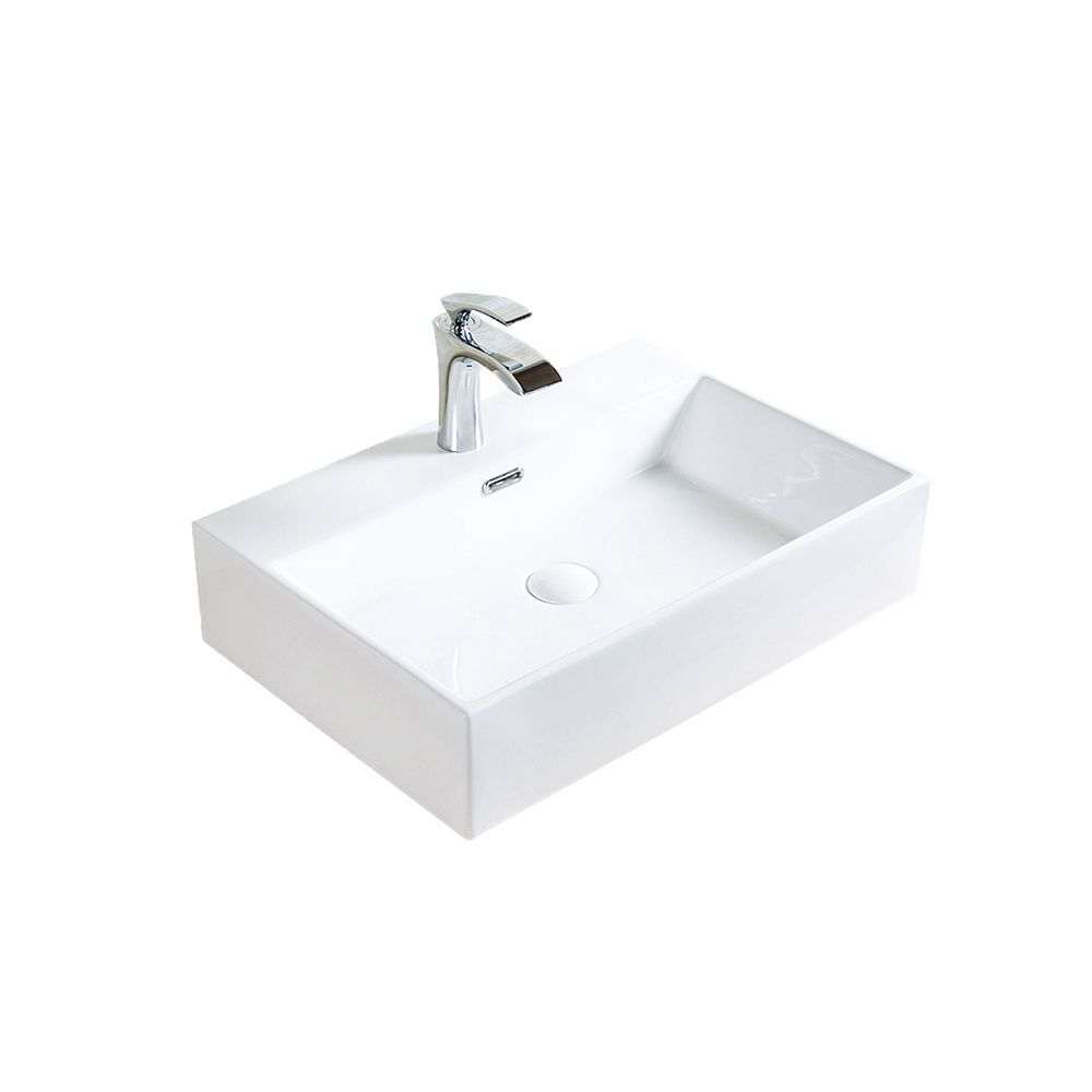 A&E Bath and Shower Hana 23-5/8 inch Ceramic Vessel Rectangular Sink Basin with Overflow in Glossy White