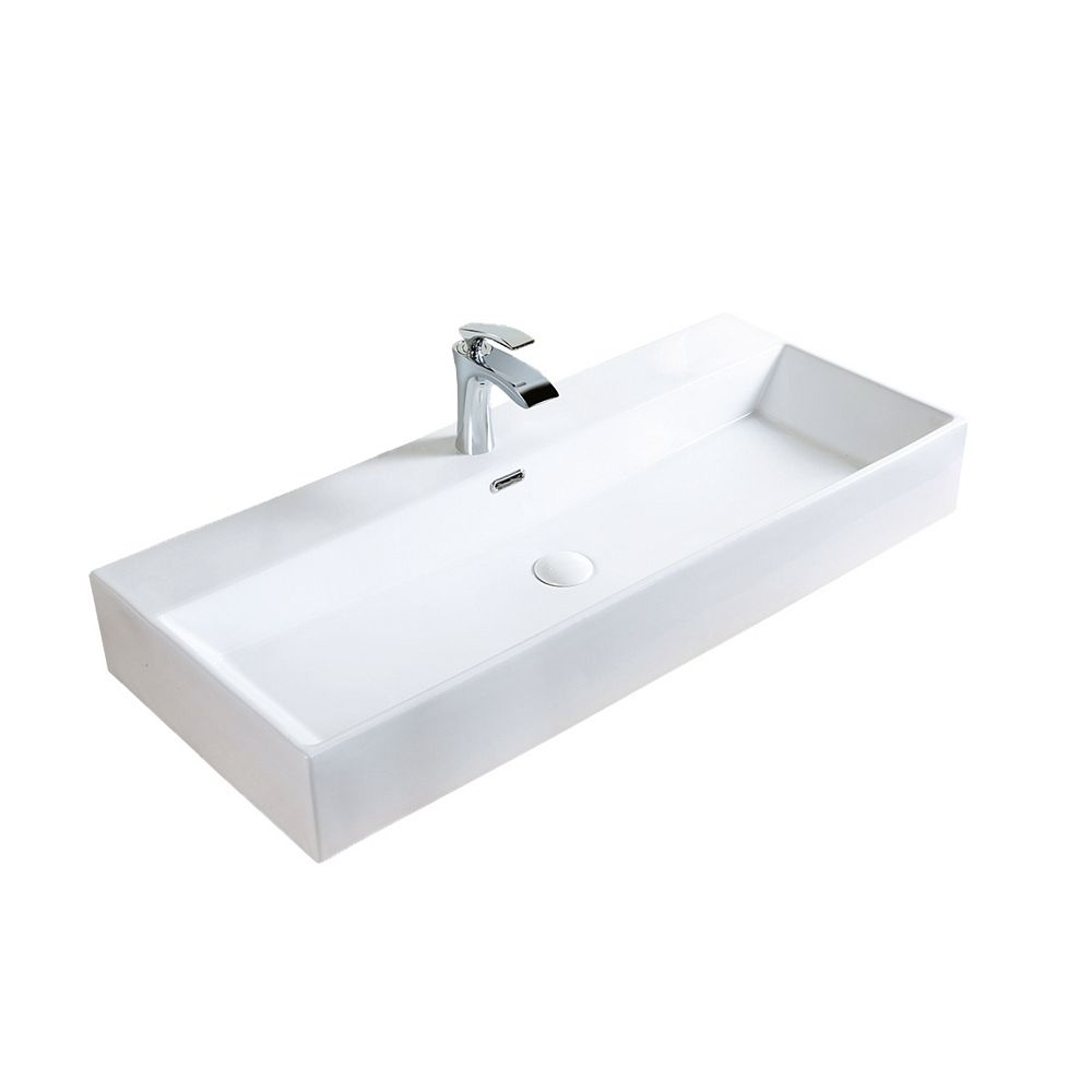 A&E Bath and Shower Averi 39-3/8 inch Ceramic Vessel Rectangular Sink Basin with Overflow in Glossy White
