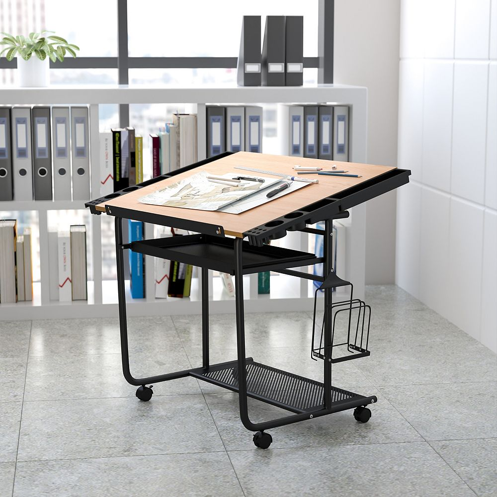 Flash Furniture Cherry Mobile Draft Table