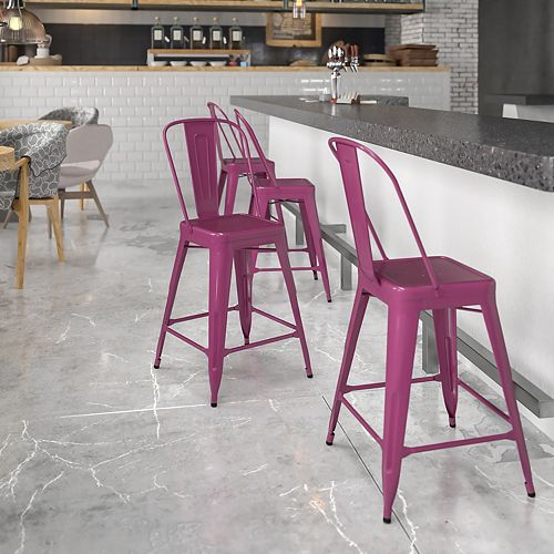 """24"""" Purp Metal Outdoor Stool"""