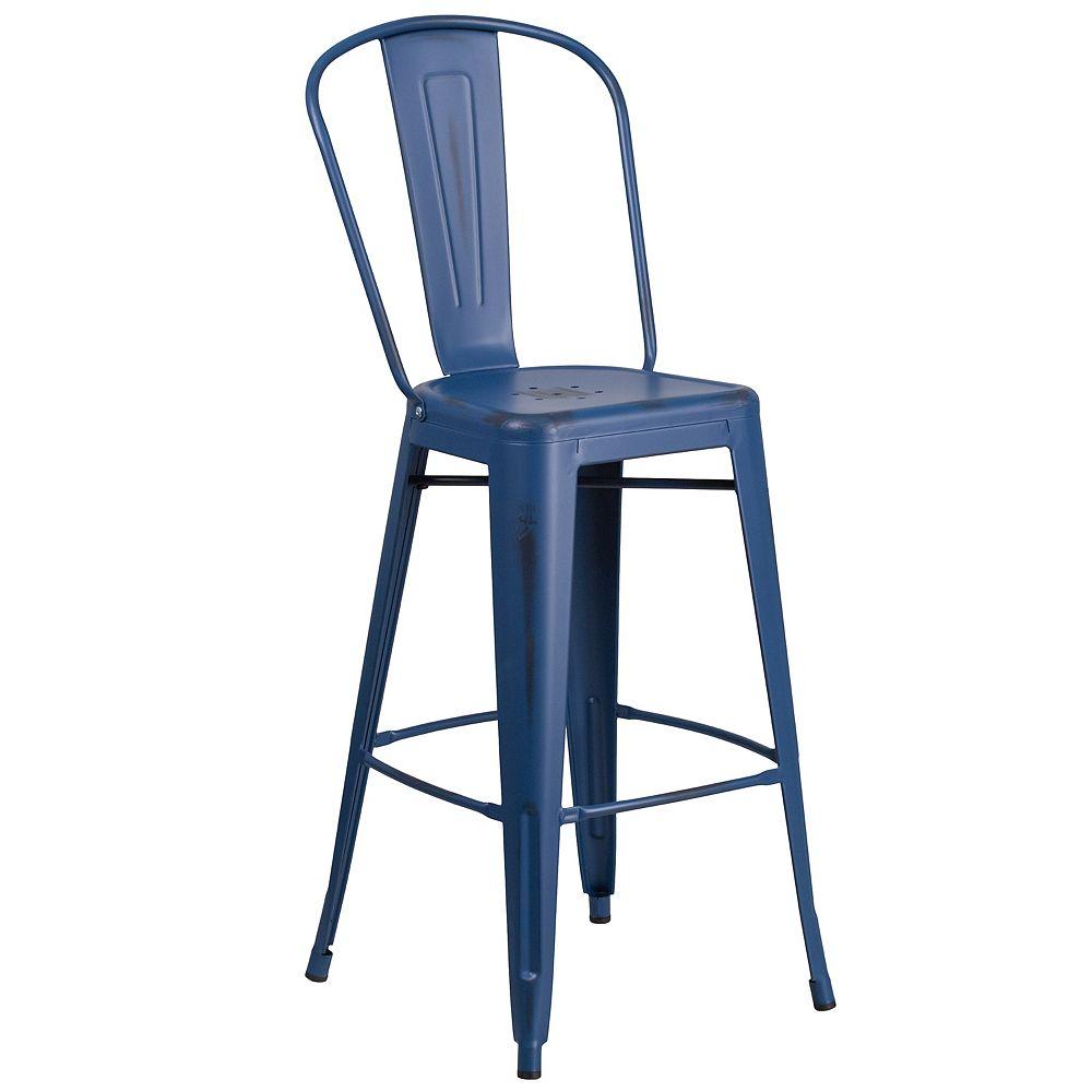 Flash Furniture Distressed Blue Metal Stool