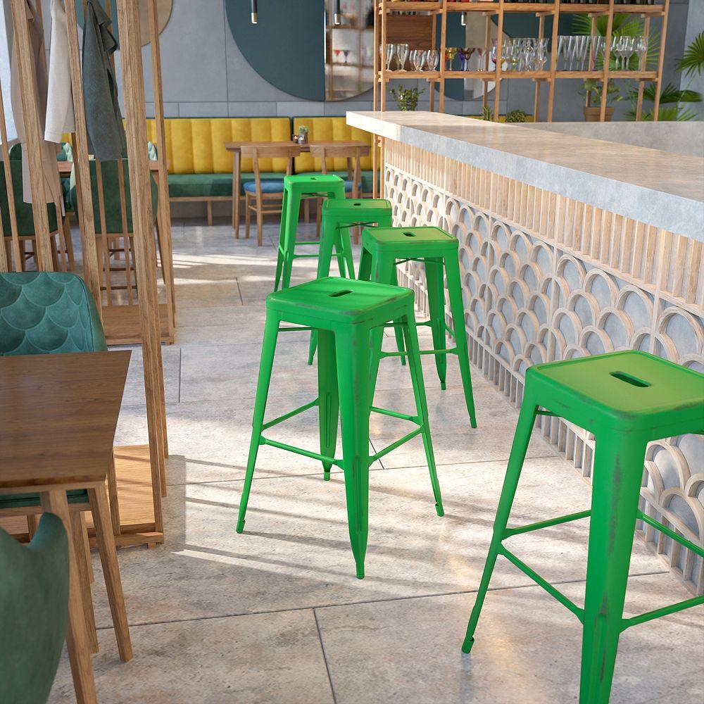 Flash Furniture Tabouret en métal vieilli vert