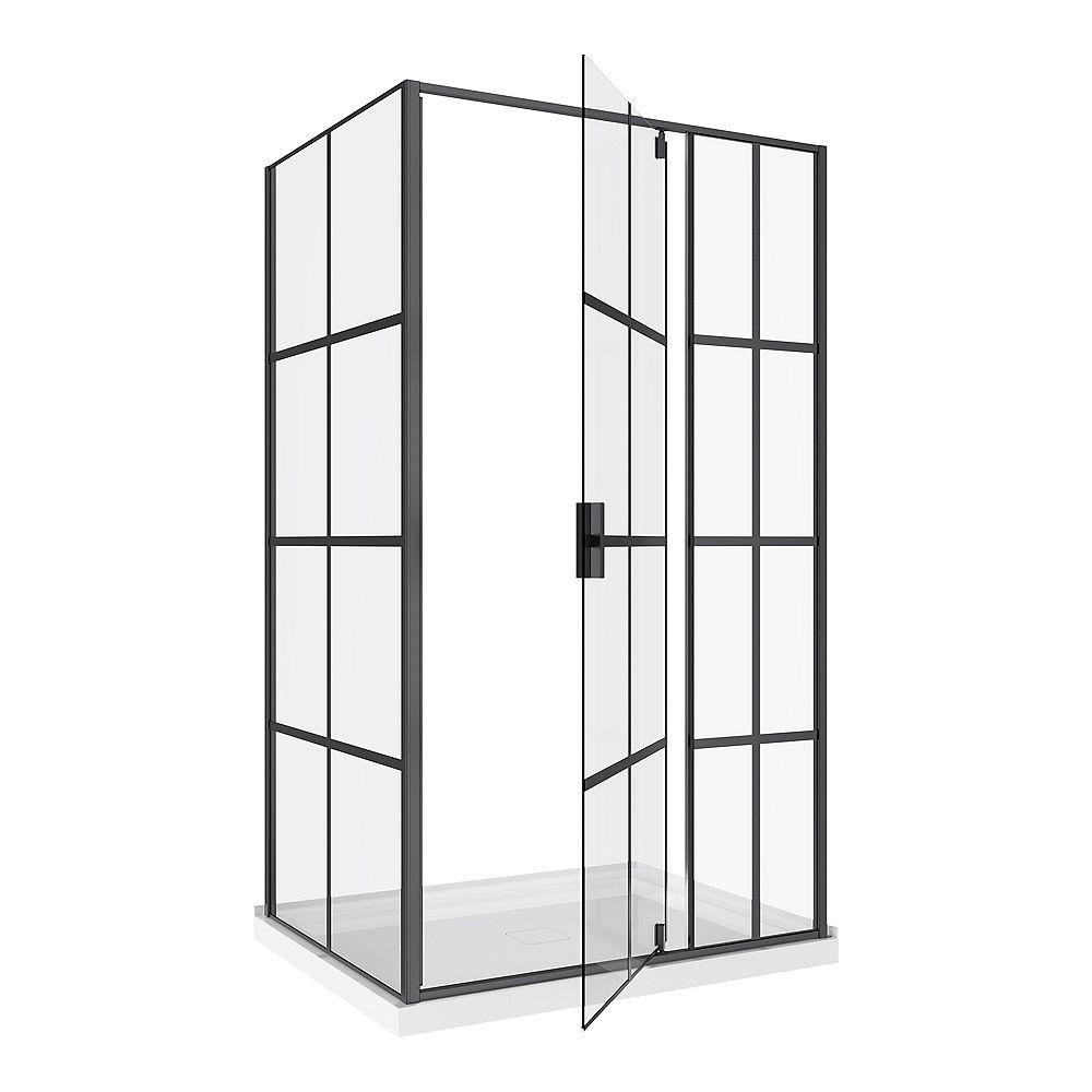 A&E Bath and Shower Jana 48-RP cabinet de douche 48 x 60 finition noire mat avec base en acrylique.