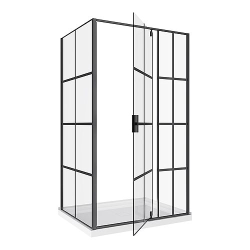 Jana 3-Piece Framed Glass Bath Screen and Base Kit in Matte Black with Pivoting Shower Door