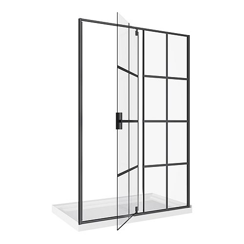Jana 2-Piece Framed Glass Bath Screen and Base Kit in Matte Black with Pivoting Shower Door