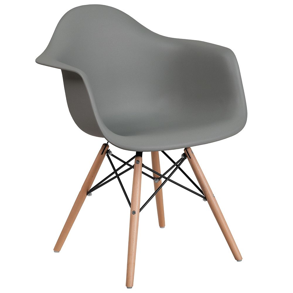 Flash Furniture Gray Plastic/Wood Chair