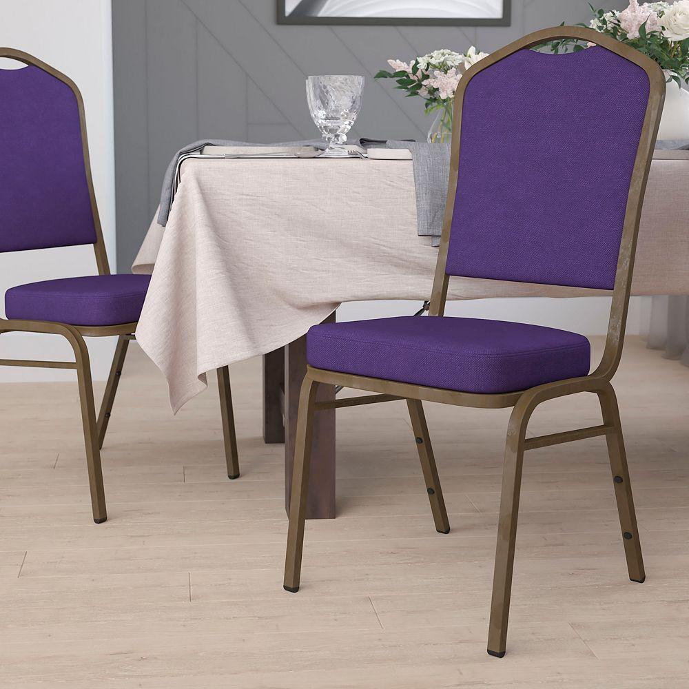 Flash Furniture Chaise de banquet en tissu violet