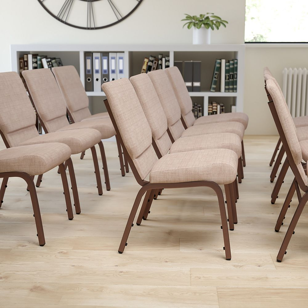 Flash Furniture Beige Fabric Church Chair