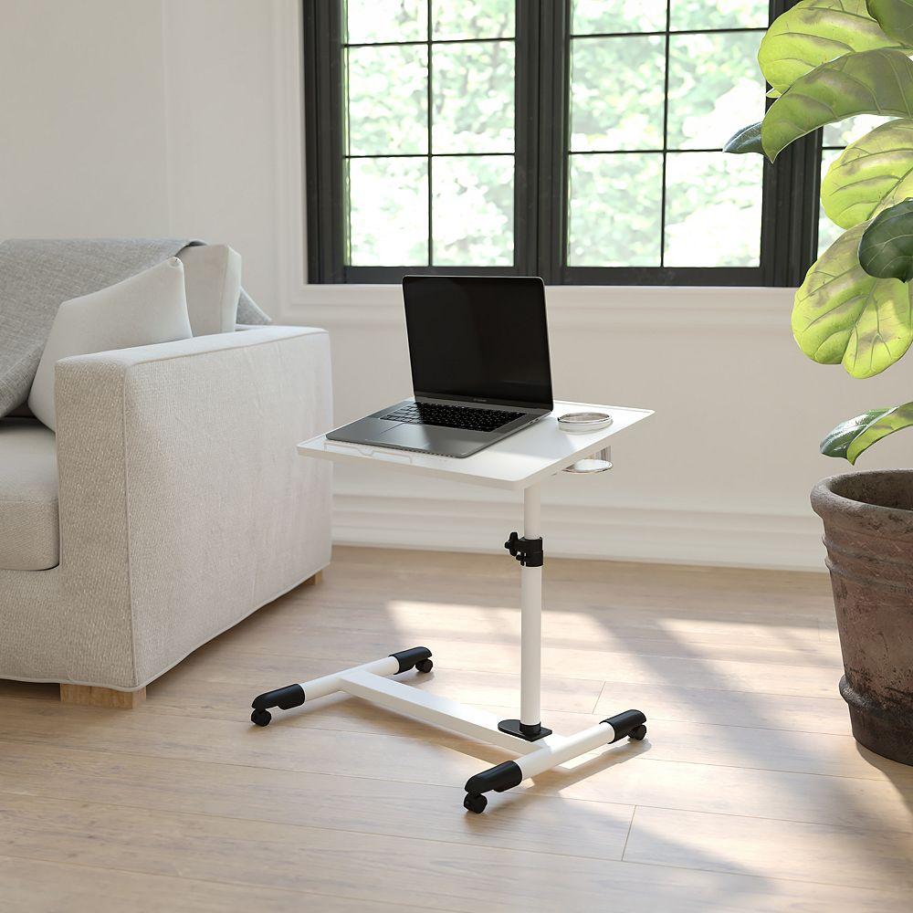 Flash Furniture Bureau d'ordinateur portable en acier blanc à hauteur réglable