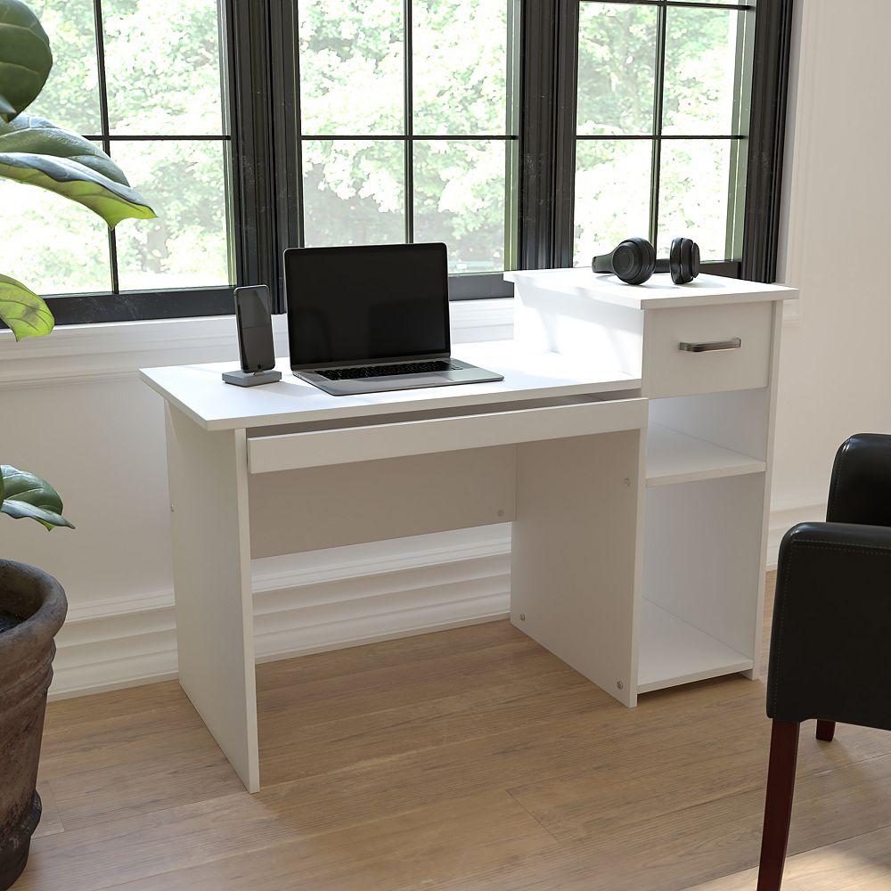 Flash Furniture White Desk with Shelves
