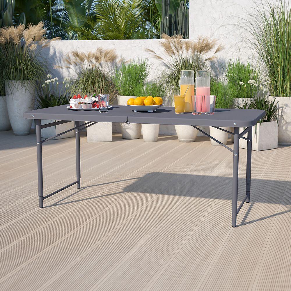 Flash Furniture 23.5x48.25 Gray Plastic Table