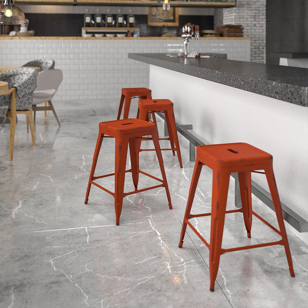 Flash Furniture Distressed Red Metal Stool