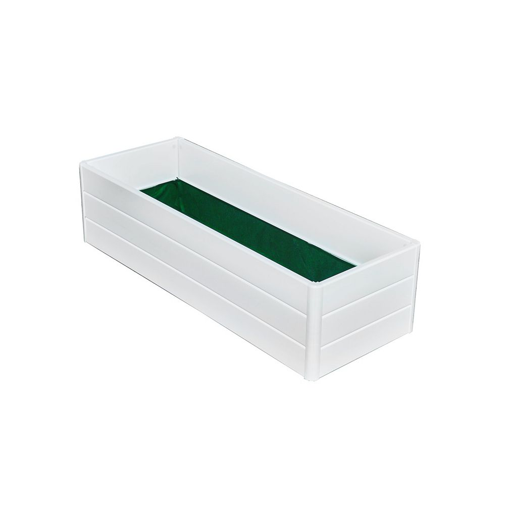 NuVue Products Boîte à jardinage de terrasse, 44,5 po larg. x 16,5 po long. x 11,5 po haut., blanc