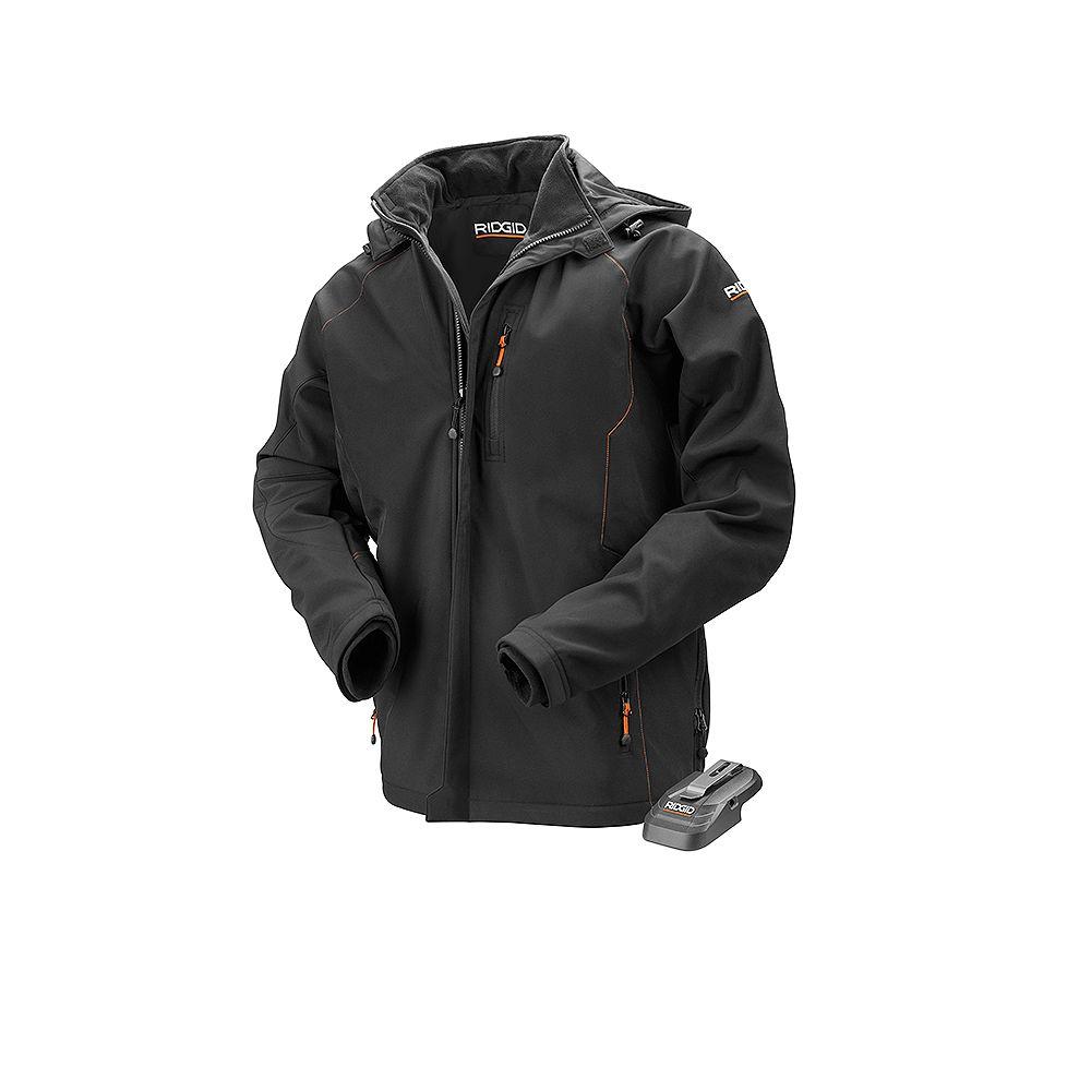 RIDGID Men's 3X-Large Black 18V Lithium-Ion Cordless Heated Jacket (Battery Not Included)