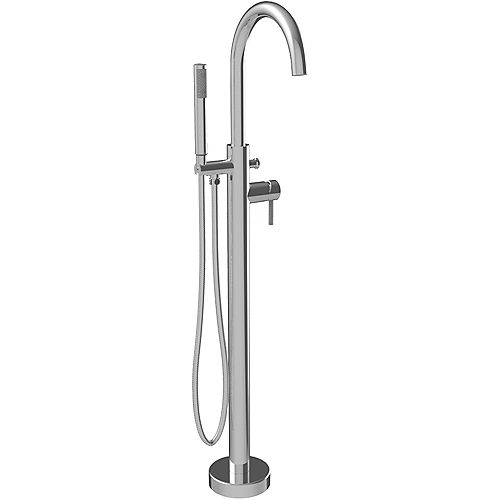 Amani Single-Handle Free-Standing Faucet with Round Spout and Hand Shower in Polished Chrome
