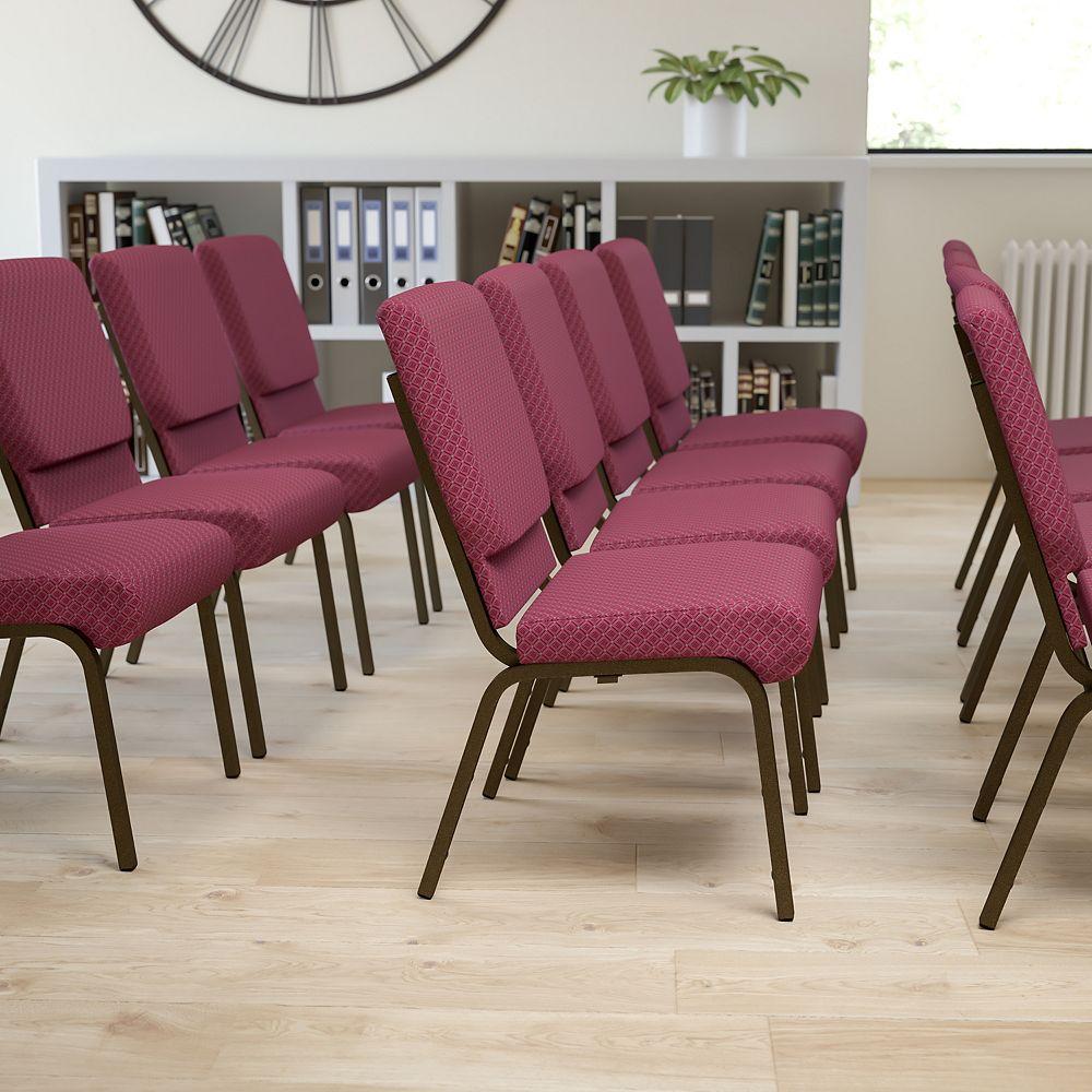 Flash Furniture Chaise d'église en tissu bourgogne