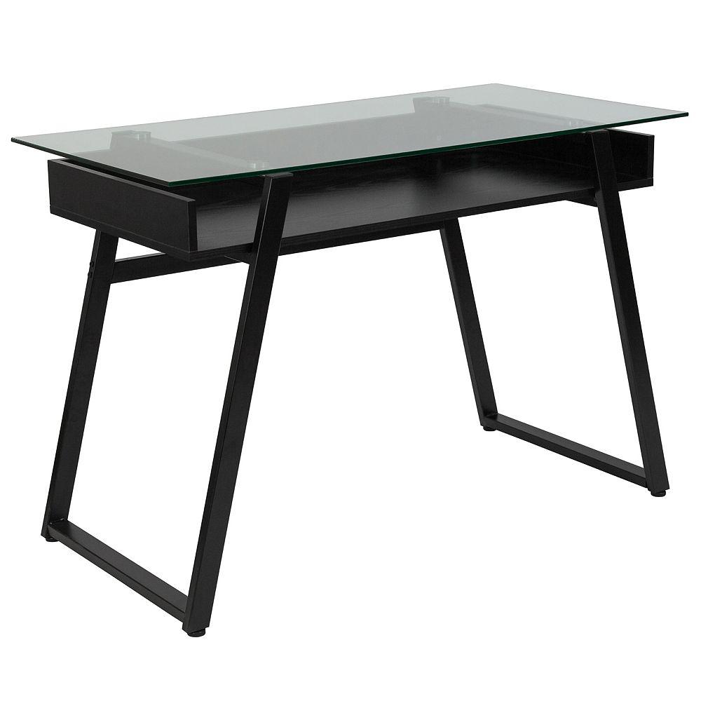 Flash Furniture Glass Desk with Shelf
