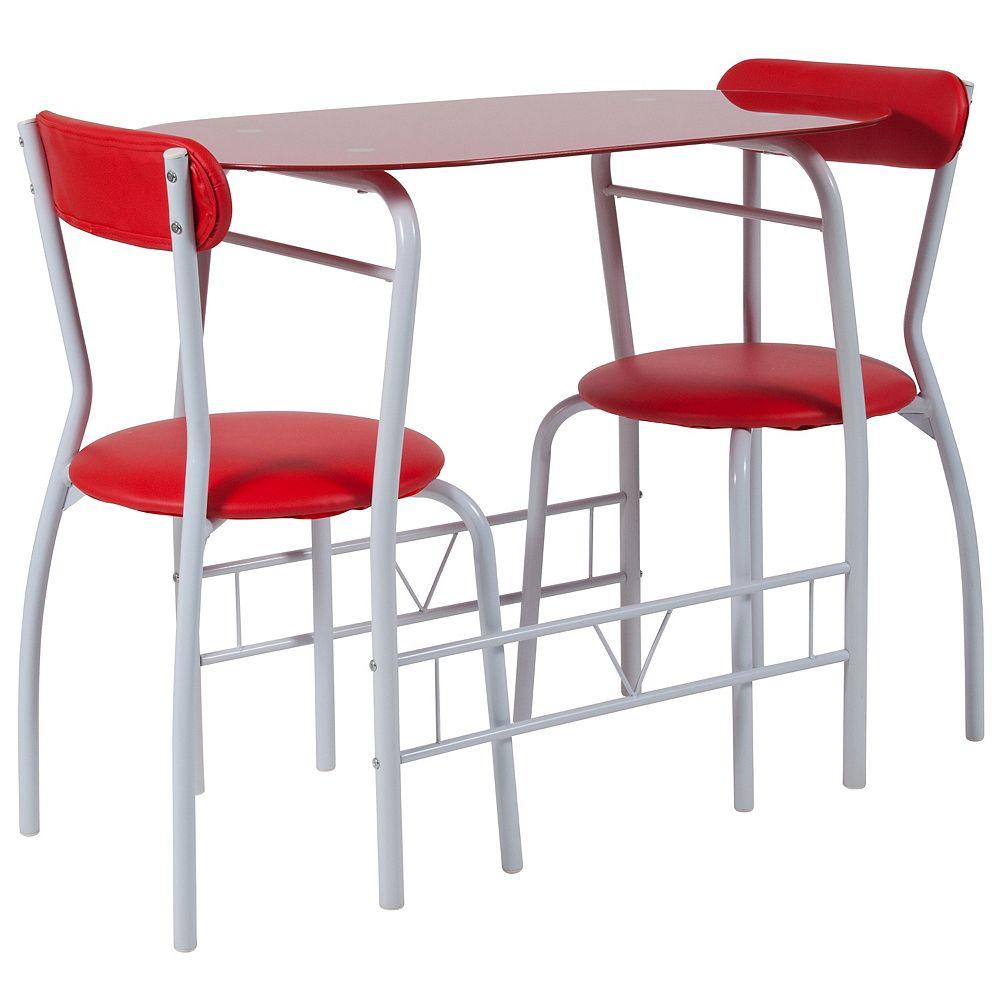 Flash Furniture 3PC Red Glass Bistro
