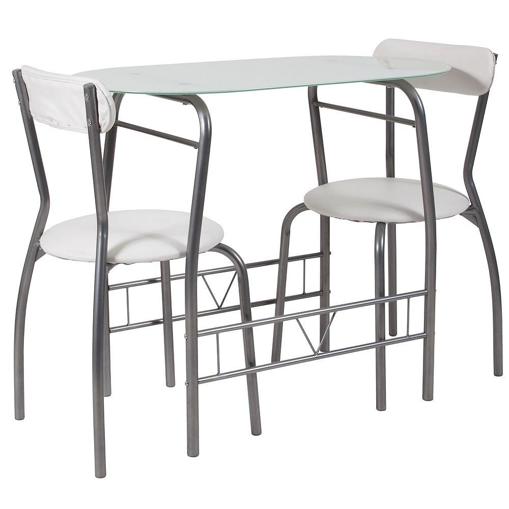 Flash Furniture 3PC White Glass Bistro