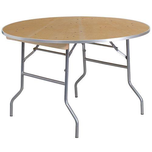 Table de banquet ronde pliante et robuste de 48 po, en bois de bouleau avec bordure en métal