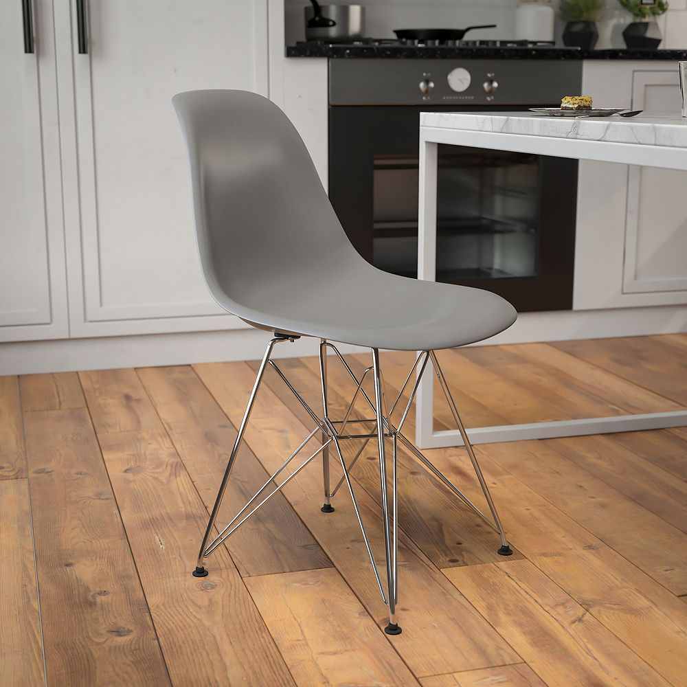 Flash Furniture Gray Plastic/Chrome Chair
