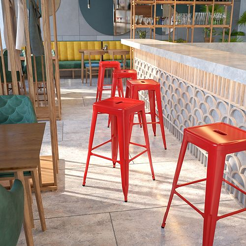 """30"""" Red No Back Metal Stool"""