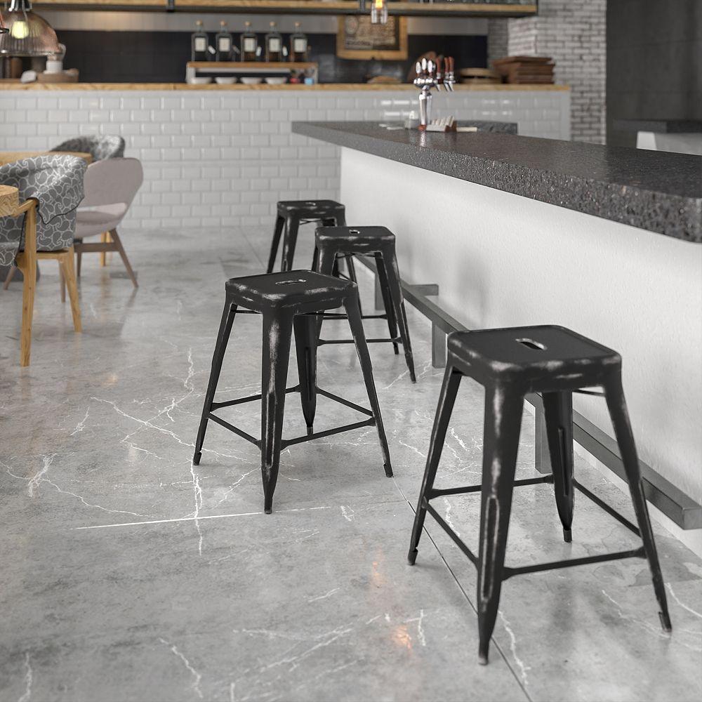 Flash Furniture Tabouret en métal vieilli noir